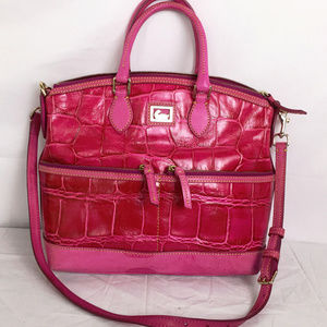 DB Pocket Satchel Zip Dome Croc Pink Vachetta